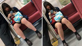 【制服JK】眠そうに通学中のおまたが緩い超可愛いJKちゃん撮り