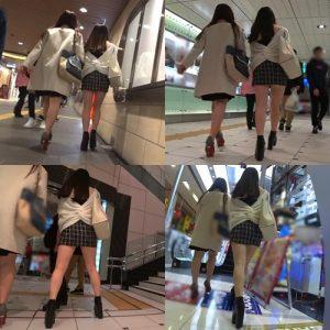 【ミニスカ女子の街歩き】エスカレーターでホップ・ステップ・パンチラ!