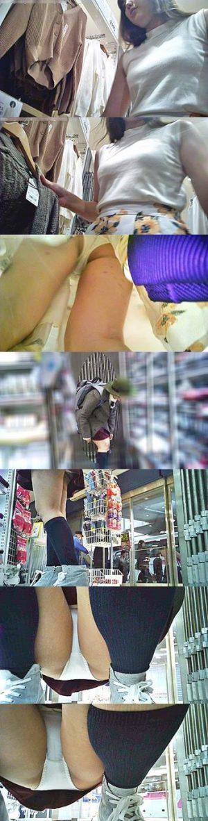 【店員パンチラ】カジュアルウェアショップ 超美形店員としゃがみ正面 モロパン カメラで覗いた結果・・2名分