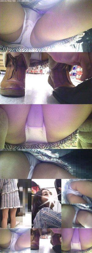 【店員パンチラ】生脚ミニスカ美女店員を小型カメラの上に誘導した結果・・純白生パンのクロッチまでまる見えに