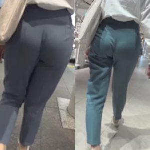 美*パンティーライン通信*水色パンツが巨尻に食い込む‼歩行とエスカで見るリアルなPライン