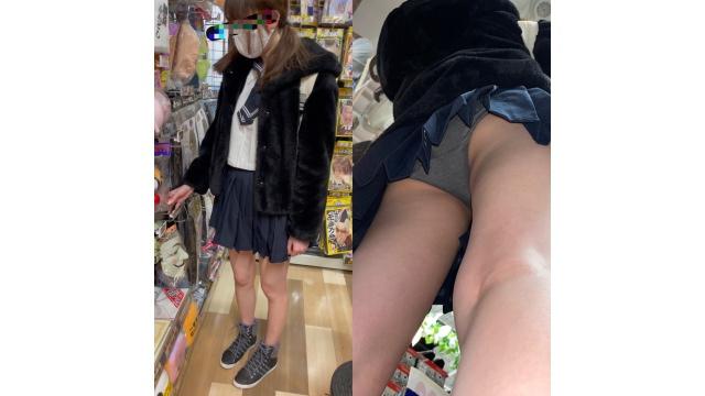【JKパパ活①】買い物中の超美脚生パンJKを前から後ろから粘着逆さ撮り【4K高画質】