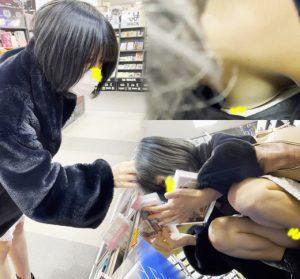 【CDショップ痴漢→承諾④】剛毛!!黒髪地雷系ぴえん女子→エレベーター前で手マン→イラマ→指フェラ‼