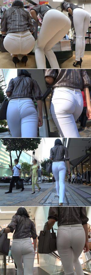 【超高画質】白スーツパンツにレースTバックが透けちゃってる真面目そうな長身美尻のOLさん♪