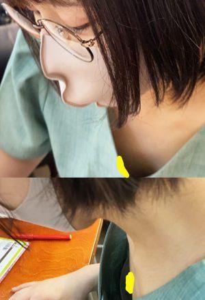 【親子で参加OK!子供学習教室で大胆胸チラ・パンチラ先生】009