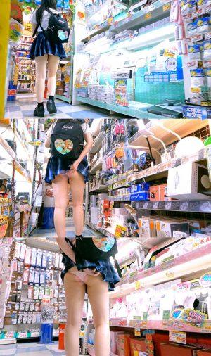 上下ハミケツ!買い物中の激ミニスカート無防備○K極小パンツで買い物中にお尻丸見え!_TPC-028