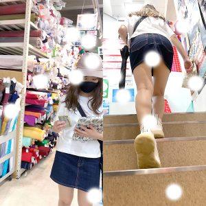 【クソミニデニム♥炉利ギャル♥】手芸店で真剣買い物中にスマホ突っ込み!